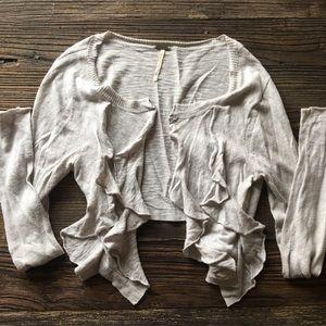 Free People | Heather Gray Ruffled Sweater M